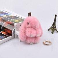 14cm Cute Pluff Bunny Keychain 15cm Real Genuine Mink Fur Key Chains Women Hot Bag Toys Doll Fluffy Pom Pom Lovely Keyring