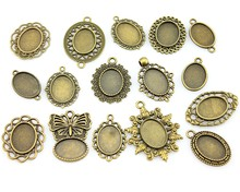100gram 13*18mm Inner Size Mix Designs Antique Silver & Antique Bronze Cameo Cabochon Base Setting Jewelry Accessories