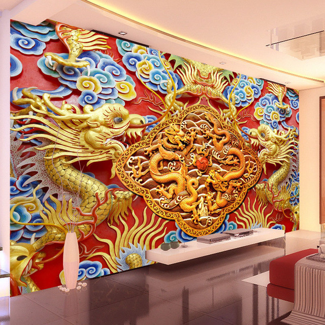 Buy luxury 3d wallpaper golden dragon for Cn mural designs