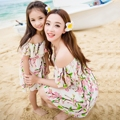Parent-child loaded peach dress 2016 summer wear  new mother and daughter dress harness dress sea beach dress with short sleeves