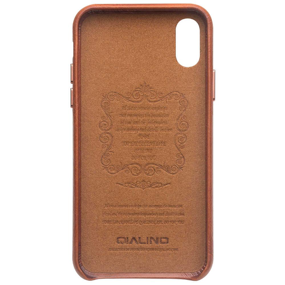 QIALINO XR Elegante Estojo De Couro Genuíno para Apple iphone 6.1 polegadas Ultra Fina Artesanal Anti-knock Back Cover para iphone XR