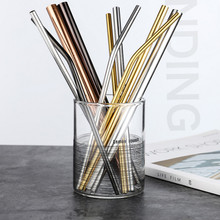 golden silver black straws diameter 6MM 12MM Straight bending metal straw reusable stainless steel