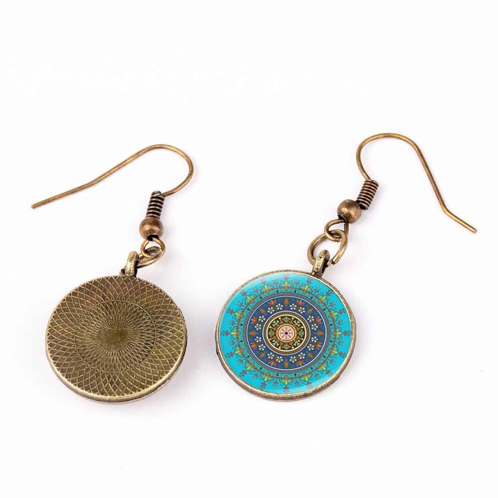 SONGDA Elegant Sacred Geometric Earrings Simulation Blue Enamel Glaze Color Kaleidoscope Mandala Dangle Earrings Modern Jewelry