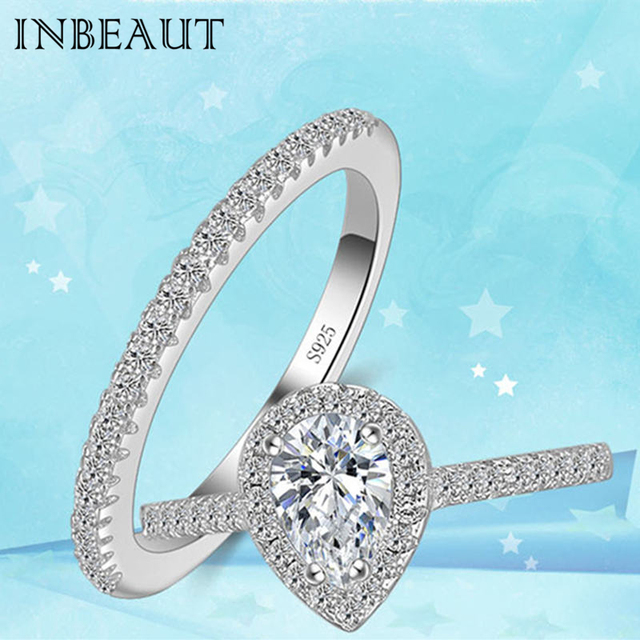 INBEAUT New Fashion Wedding Rings 925 Silver Princess Perfect Cut Sparkling Hear