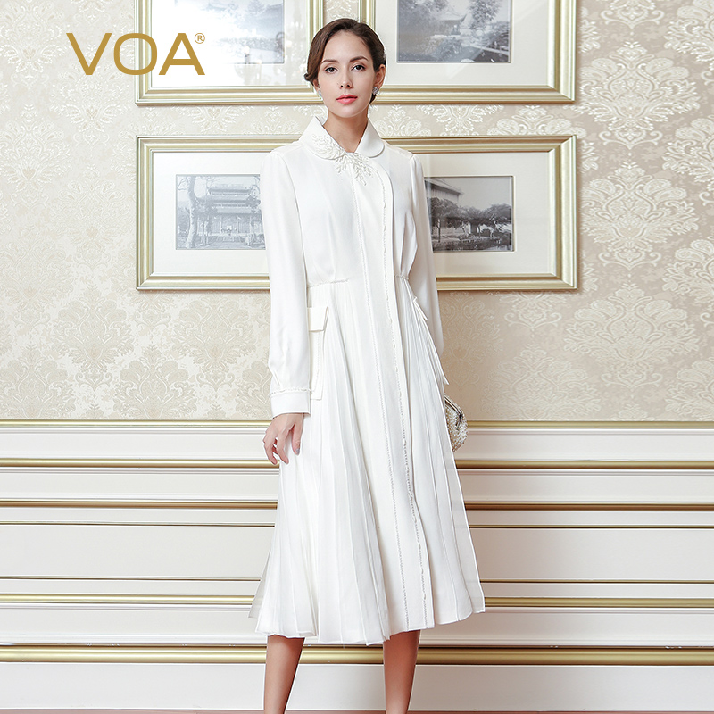 VOA White Plus Size Trench Coats Women Long Sleeve High Quality Luxury Silk Slim Outfit Clothes Mode Femme Windbreaker FLX01501