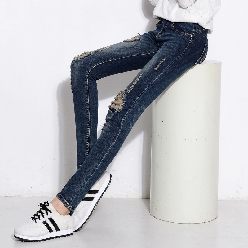 ФОТО 2016 New Spring Style Skinny Jeans Woman Street Style Patchwork Ripped Jeans Ladies Denim Pants Female Casual Pencil Pants Denim