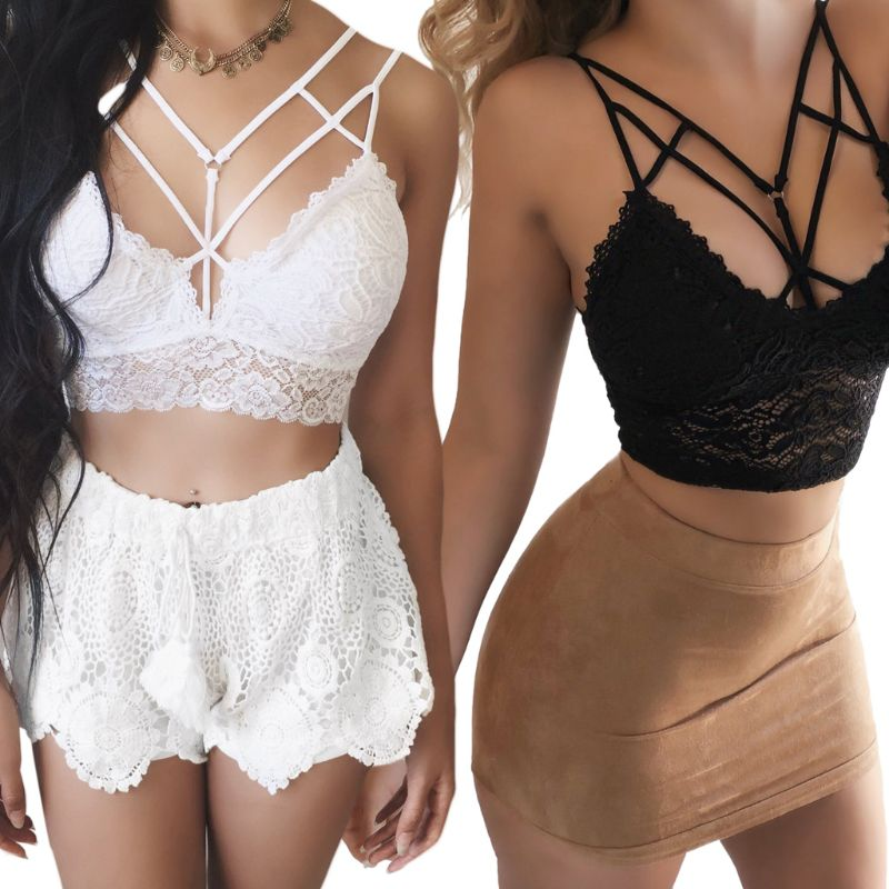 Women Plus Size Sexy Hollow Strappy Bralette Solid Color Seamless Caged Underwear Embroidered Floral Lace Push Up Crop Top S 3XL in Camis from Women 39 s Clothing