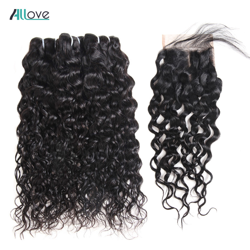 Allove Brazilian Water Wave Bundles With Closure 4PCS/LOT Human Hair Bundles With Closure 4x4 Non Remy Hair Free Shipping-in 3/4 Bundles with Closure from Hair Extensions & Wigs    1