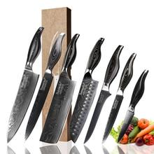 SUNNECKO Damascus Chef Santoku Slicing Utility Paring Boning Knife Japanese VG10 Steel Blade Pakka Wood Handle Kitchen Knives