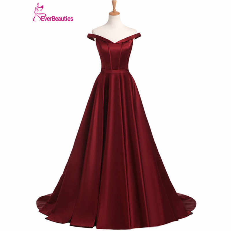 Вечернее платье, длинное, 2019, красное вино, элегантное, атласное, v-образный вырез, платье для выпускного вечера, вечернее платье, Abendkleider Abiye Robe De Soiree
