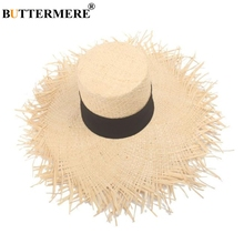 BUTTERMERE Sun Hat Women Summer Ladies Beige Top Raffia Female Wide Brim Designer Brand 2019 New Arrival Straw Fashion