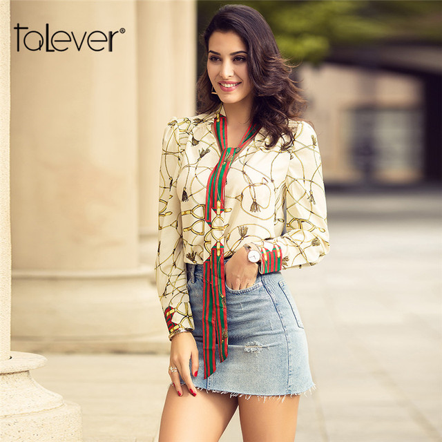 Spring Woman Tops Shirt Fashion V-Neck Long-Sleeve Stripe Ribbon Printed Casual Blouse Ladies Bow Tie Decoration Blouses Talever