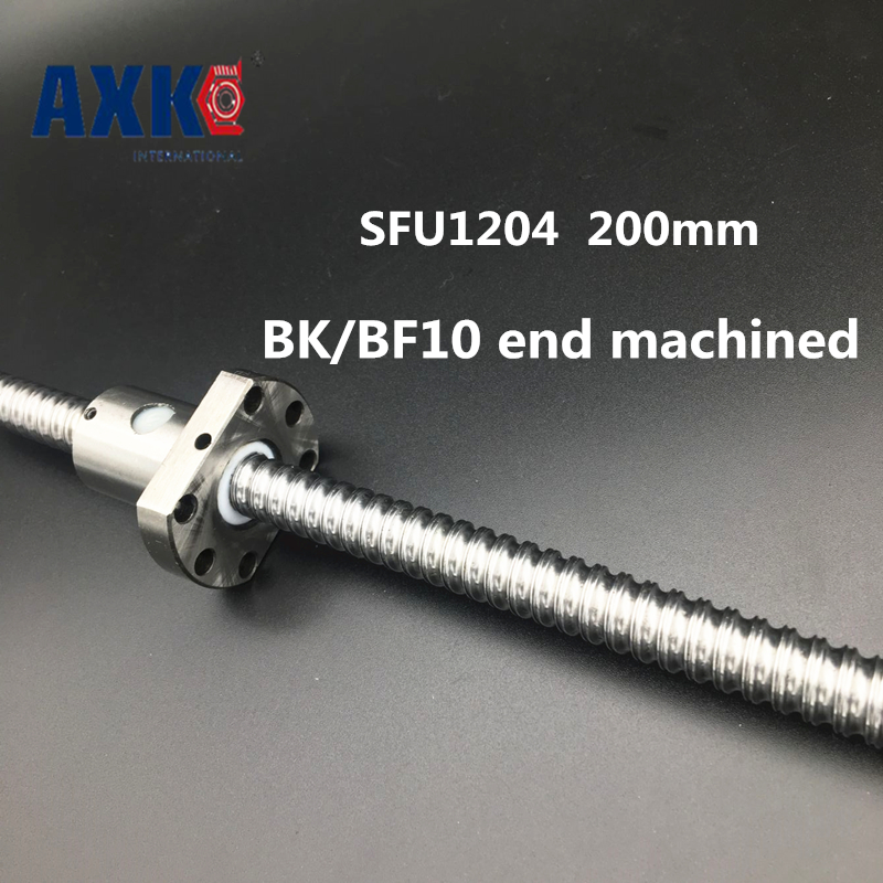 2018 Rushed New Linear Rail Axk Cnc Router Parts Sfu1204 200mm Ballscrew With Single Ballnut For Cnc Parts Bk/bf10 Machined axk sfu1204 200mm ballscrew with sfu1204 single ballnut for cnc parts bk bf10 machined