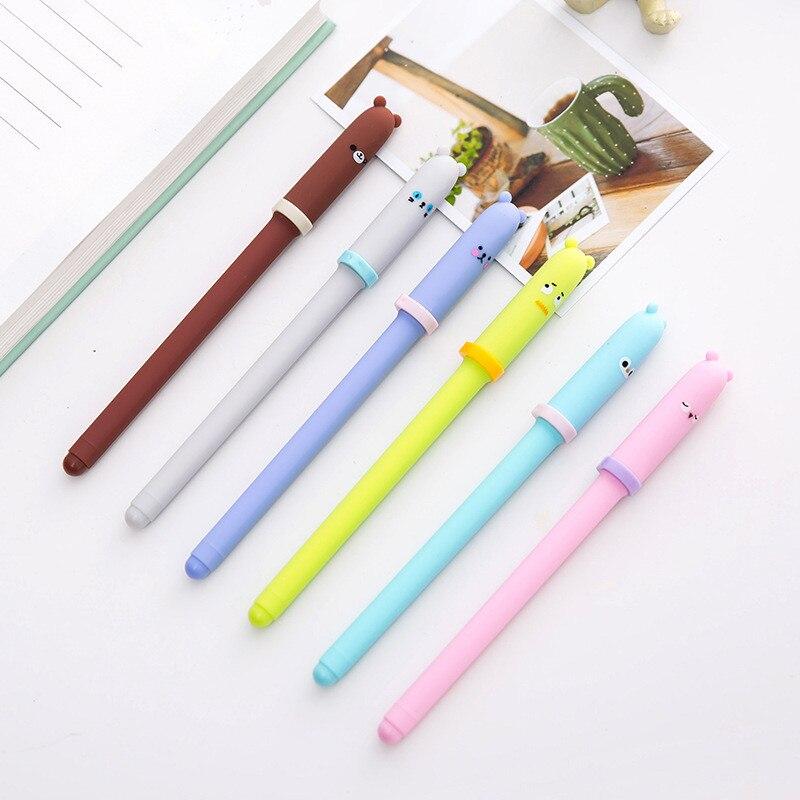 3pcs Cute Koala Gel Pen Green Branch Black Ink Pens 0.5mm Kids Writing  J7
