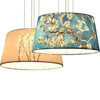 Moderne nordic woonkamer stof lampenkap E27 kroonluchters pastorale mediterrane art mode ontwerp creatieve decoratieve verlichting