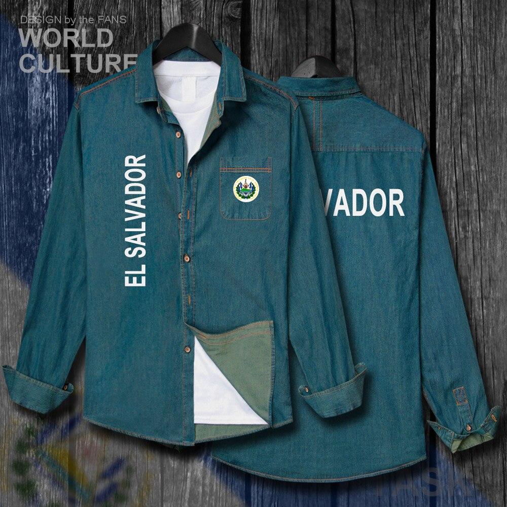 El Salvador Salvadoran Slv Männer Kleidung Herbst Jacke Drehen-unten Kragen Jeans Hemd Langarm Cowboy Mantel Mode Flags Tops 20