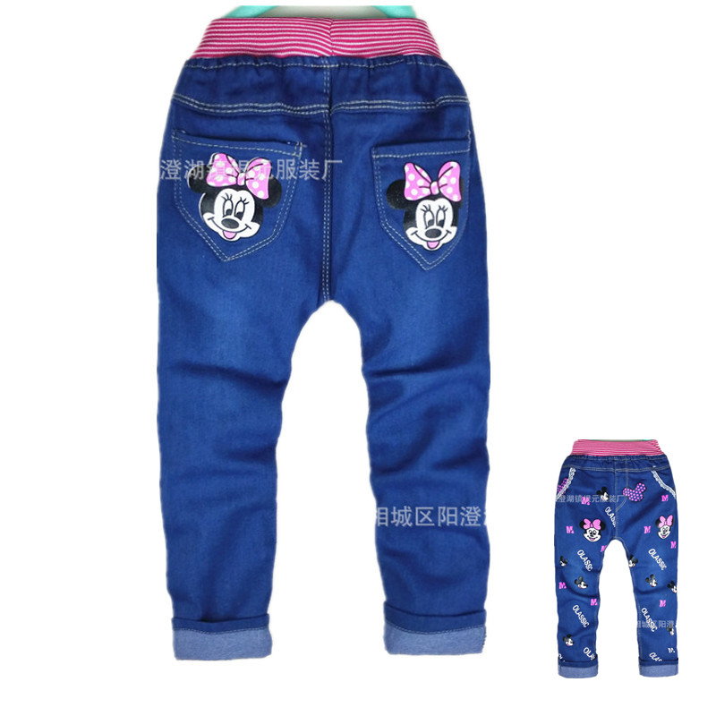 2017 Baby Girls Boys Pants Kids Jeans Minnie Trousers Autumn Leggings Pants Mickey Jeans Children Kitty