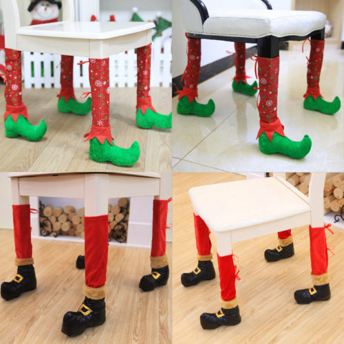 Christmas Chair Foot Socks Table Legs Cover Stocking Santa Boots Home Decoration thumbnail