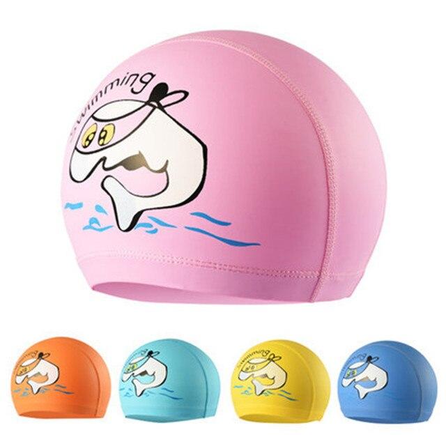 d487e631eb2b € 7.06 20% de réduction Enfants PU tissu cap mignon de bande dessinée  bonnet de bain en gros cap étanche oreille cap dans Bonnets de natation de  ...