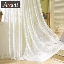 Eropa putih bordir tirai untuk ruang tamu bordir tulle tirai untuk jendela kamar tidur Organza voile tirai