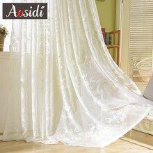 Europeu branco bordada cortinas para sala de estar bordado cortinas de tule para janela do quarto Organza cortina de voile