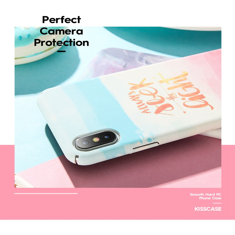KISSCASE Fashion Watercolor Plastic Case For iPhone 6 6s Plus 7 8 Plus Text Colorful Cases For iPhone X XR XS MAX Coque Capa in Fitted Cases from Cellphones Telecommunications