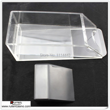 1PC 4 Deck Clear Acrylic Dealing Shoe and Black Roller Without Lid