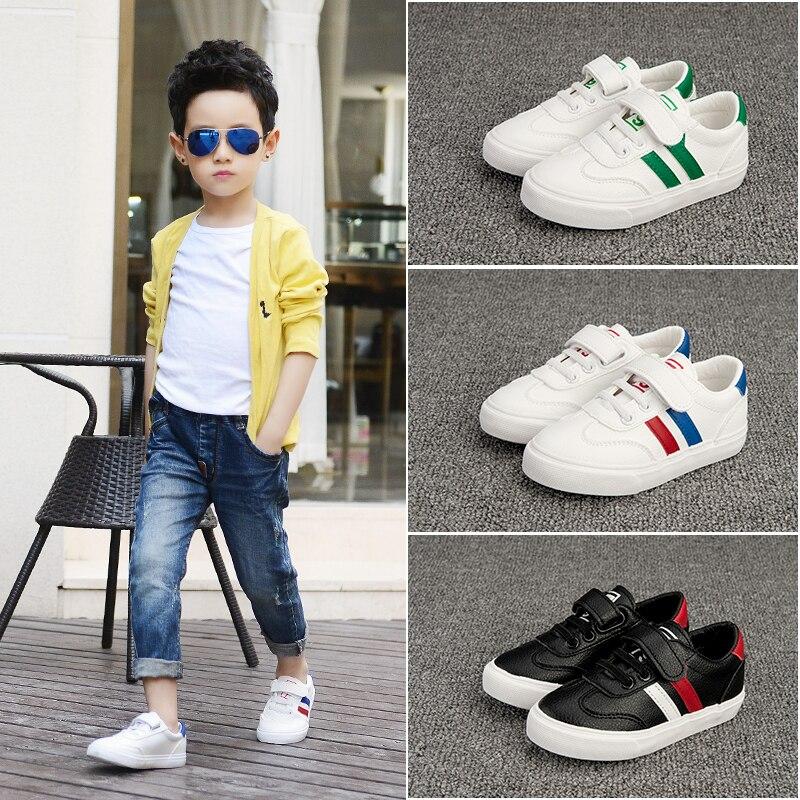 Hot enfants petites chaussures blanches Skateboard Sport Skate baskets en cours d'exécution enfants en plein air maille garçons fille facile correspondant couleur de contraste