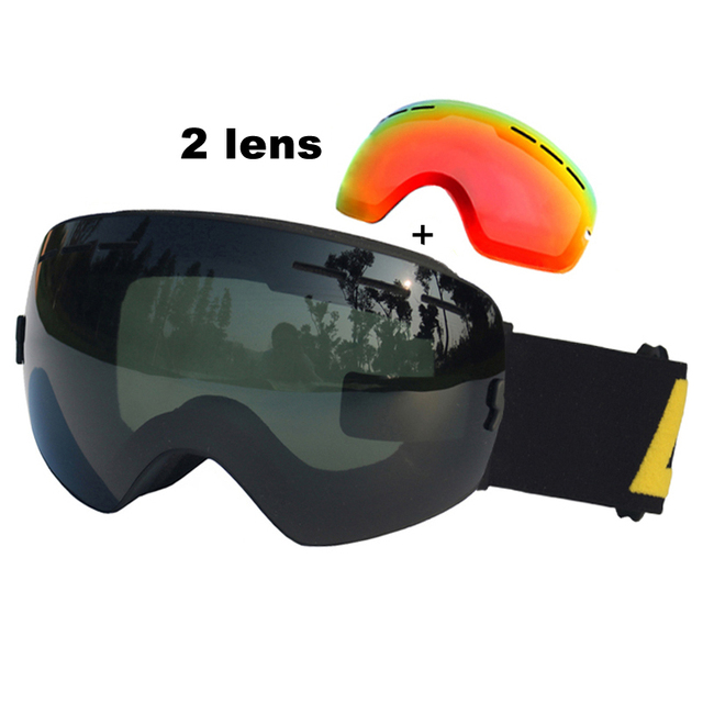 Spherica Ski Glasses Double Lens UV400 Anti-fog Ski Goggles Skiing Snowboard Goggles Ski Masks With Red Vision Lens