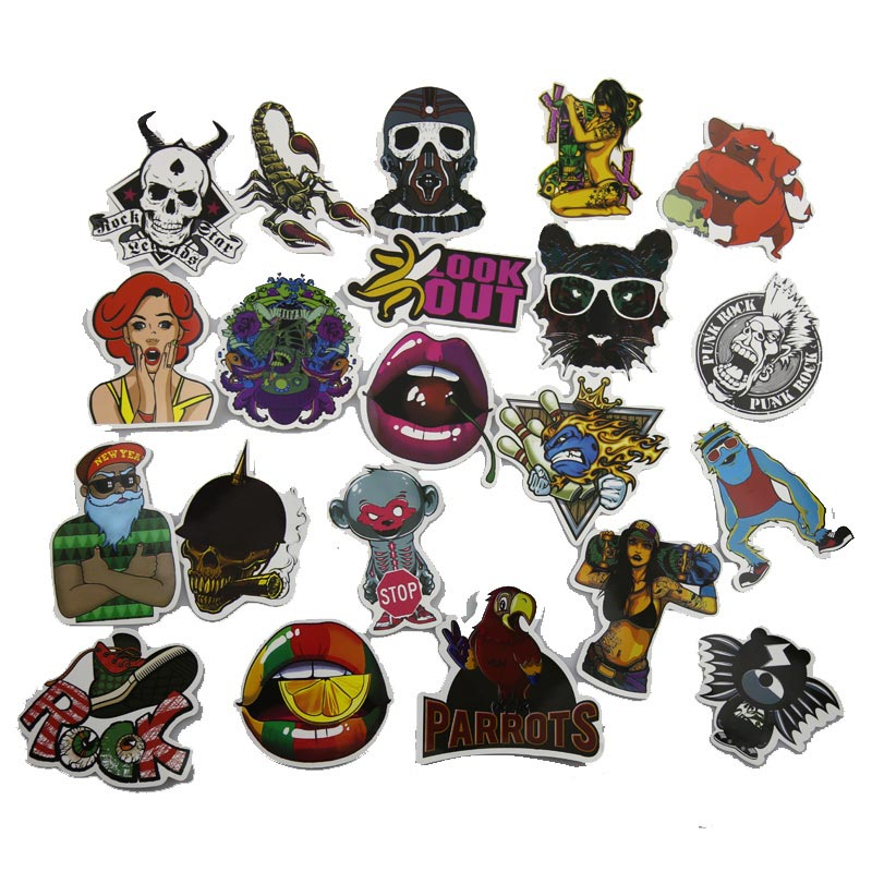 50Pcs Cool Punk Skeleton Funny Anime Gravity Falls Sticker For Car Laptop Luggage Skateboard Motorcycle Decal