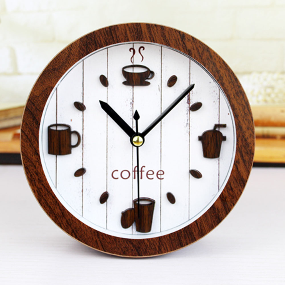 Retro Pastoralism Leisure Time Style 3d Coffee Cup Desk Clock Table Cock Alarm Clock Silent Clock