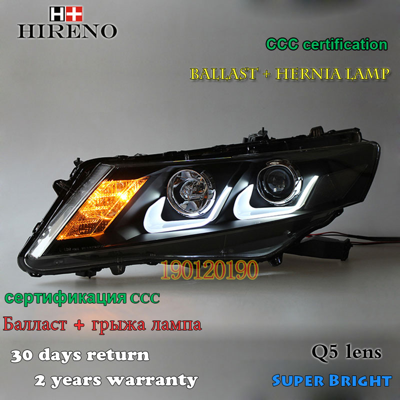 Hireno Car styling Headlamp for 2011-14 Honda Crosstour Headlight Assembly LED DRL Angel Lens Double Beam HID Xenon 2pcs hireno car styling headlamp for 2003 2007 honda accord headlight assembly led drl angel lens double beam hid xenon 2pcs