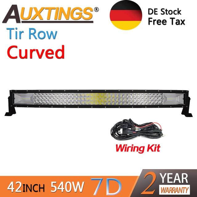 Auxtings-support mobile incurvé 540w | 42 pouces, 3 rangs, étanchéité IP67, haute puissance, haute lumens trois rangs, 427D barre hors route