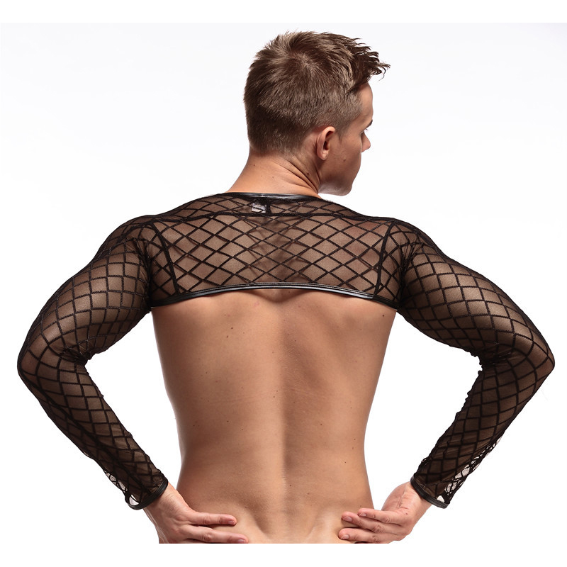 Male Lingerie Transparent Tube Tight Fitness Long Sleeve Oversleeps Arm Warmers Men Mesh Nightclub Costume