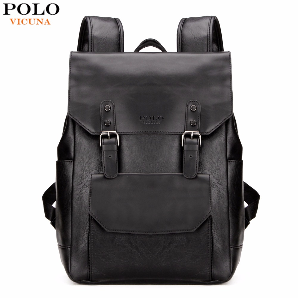ФОТО VICUNA POLO New Arrival Black PU Leather Backpack Men Laptop Backpack With Double Belt Fashion Large Capacity Travel Backpacks