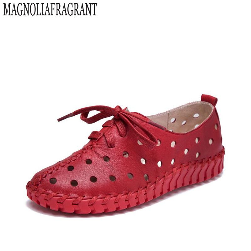 2017 New Fashion Summer Genuine Leather Shoes Women Shoes Woman For Mom Women's Flats Comfortable Handmade Pregnant Hole Shoes k