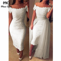 New Arrival 2018 White Prom dresses with Appliques Short Sleeve long graduation dresses Evening Prom Dress with Attachable Tail