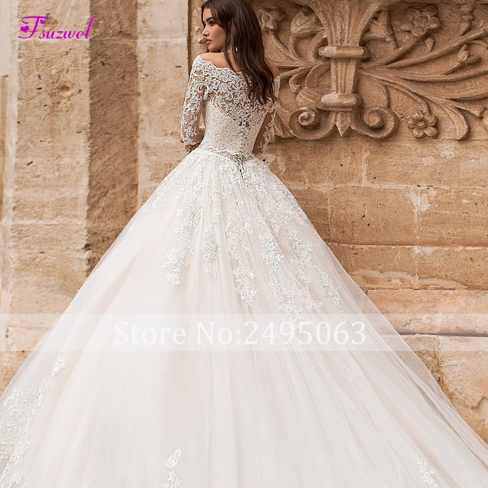Image 5 - Fsuzwel New Boat Neck Appliques Long Sleeve A Line Wedding Dress 2019 Luxury Crystal Sashes Princess Bride Gown Vestido de Noiva-in Wedding Dresses from Weddings & Events