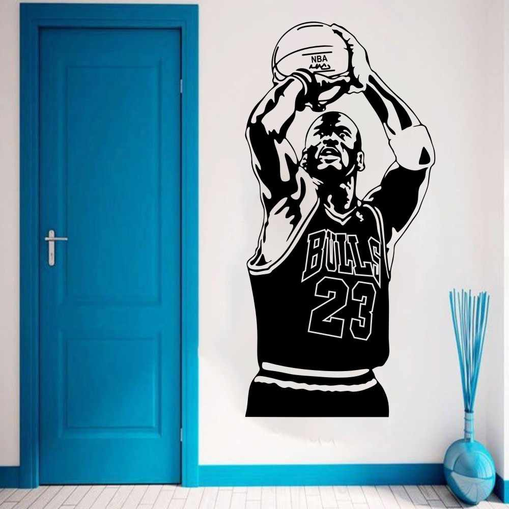 2018 New Design Muur Sticker Vinyl Diy Home Decor Basketbal Speler Decal Sport Ster Voor Kinderkamer Gratis Verzending