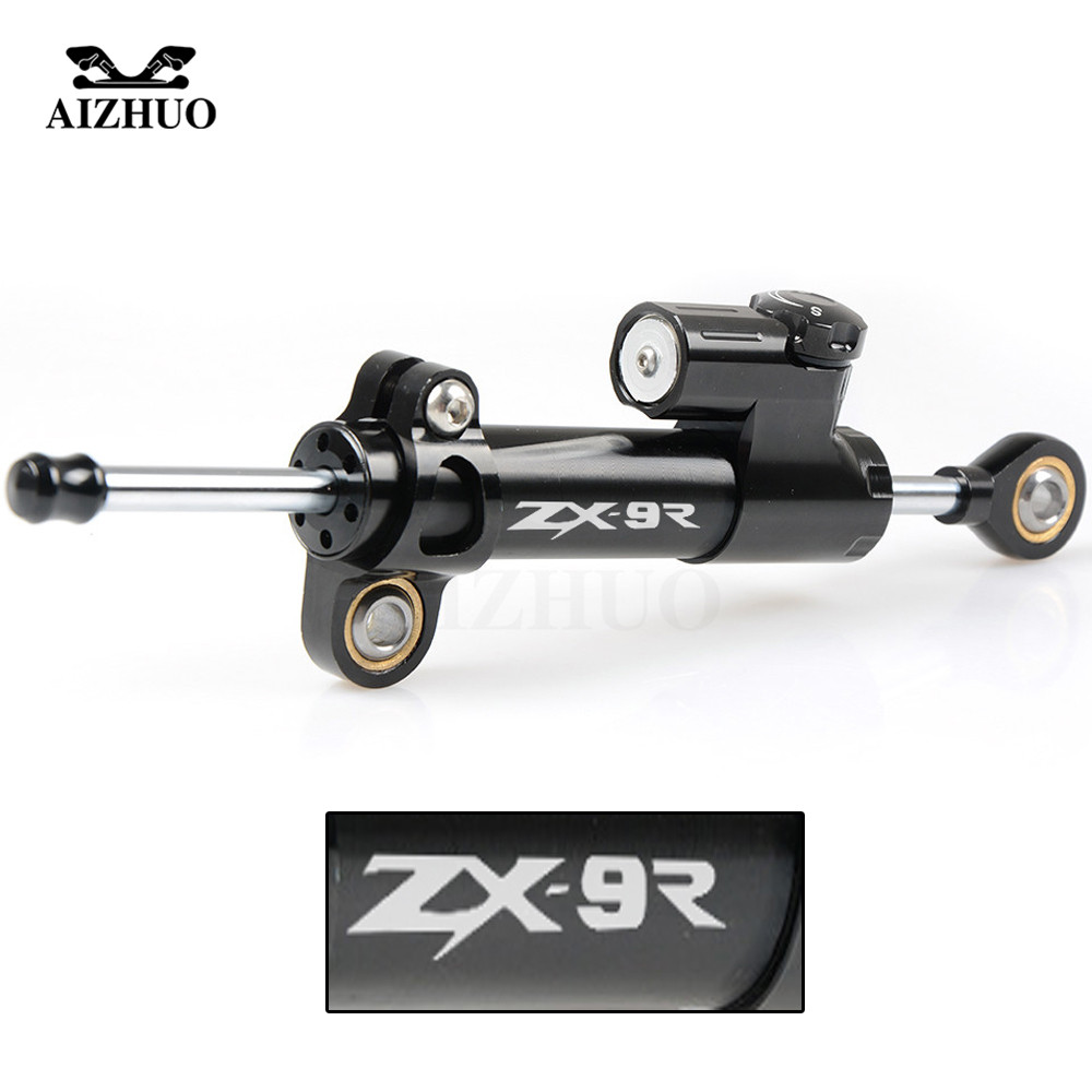 CNC Aluminum ZX9R LOGO Motorcycle Damper Steering Stabilize Safety Control For KAWASAKI ZX9R ZX 9R 1998-1999 hot sales kawasaki ninja abs fairings kit zx9r 94 95 96 97 zx 9r cowling plastic zx 9r 1994 1995 1996 1997 motorcycle bodywork