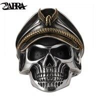 ZABRA 925 Silver World War II Soldier Anniversary Mens Rings Punk Rock Vintage Adjustable Size Skull