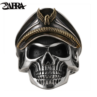 ZABRA 925 Silver World War II Soldier Anniversary Mens Rings Punk Rock Vintage Adjustable Size Skull