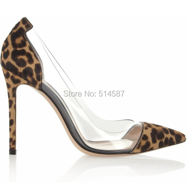 9630f637e4c2 Designer women leopard print calf hair PVC pump pointed toe high heels  transparent stiletto thin heel dress shoes plus size10-in Women s Pumps  from Shoes on ...