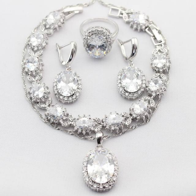 Charms Oval White CZ Silver Plated Women Jewelry Sets Necklace Pendant  Drop Earrings Rings bracelet Christmas&Halloween Gift