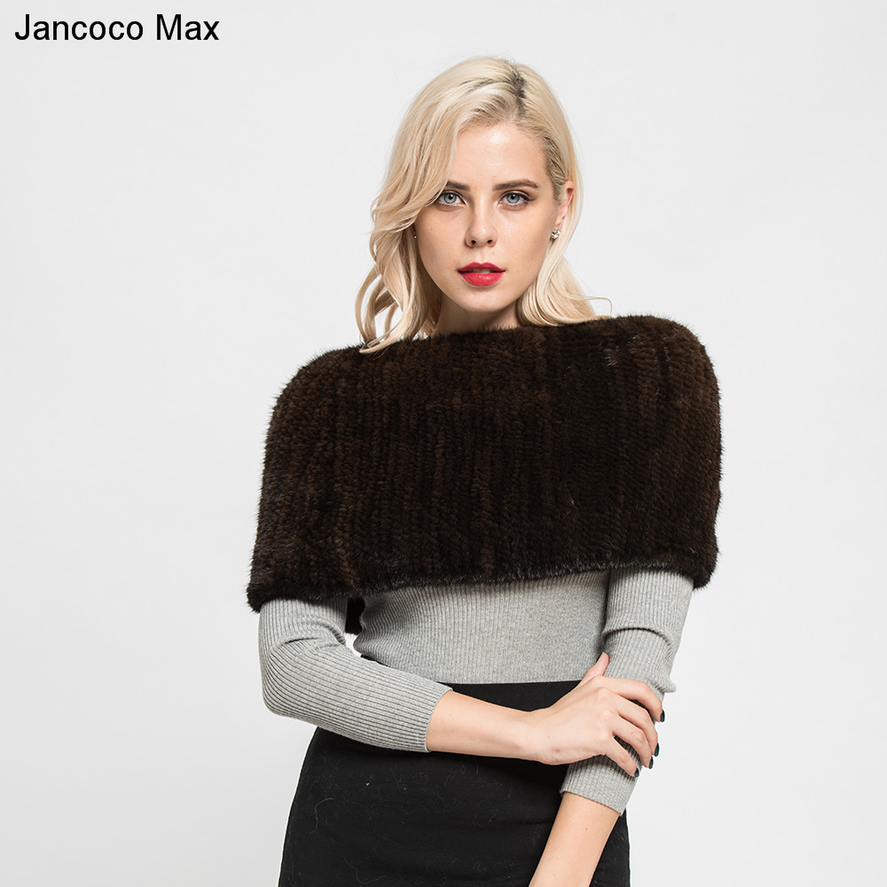 Jancoco Max 2019 New Style Ladies Thick Knitted Real Mink Fur Scarves Women Top Quality Shawl Neckerchief Keep Warm S7122