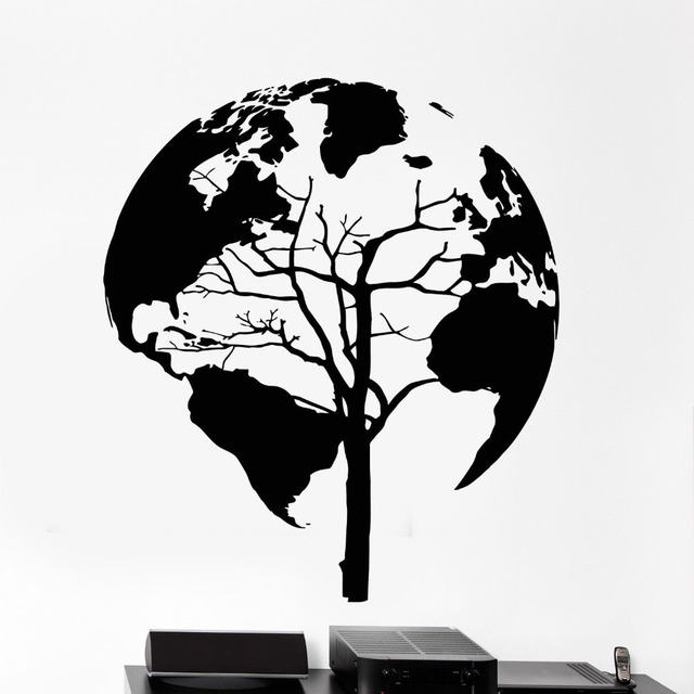 Art mural wall vinyl decals stickers tree nature world map cool art mural wall vinyl decals stickers tree nature world map cool black home decoration for living gumiabroncs Choice Image