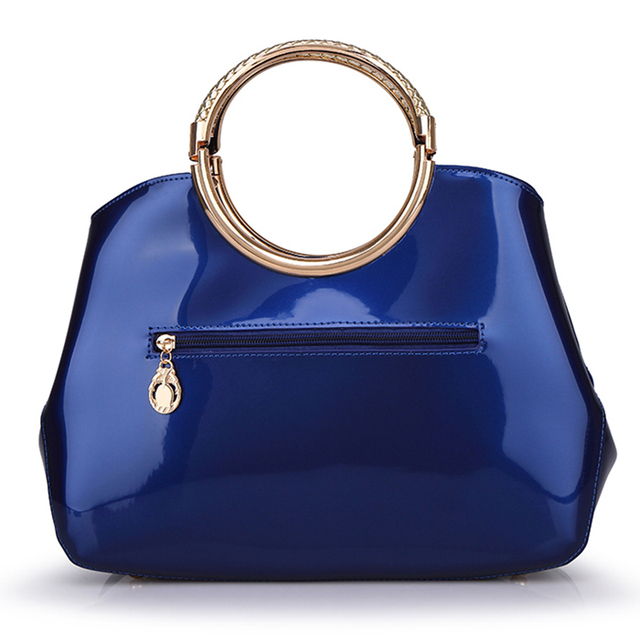blue white red pink Elegant Vintage High Quality patent Leather Totes top handle bags handbags for women lady female Feminina