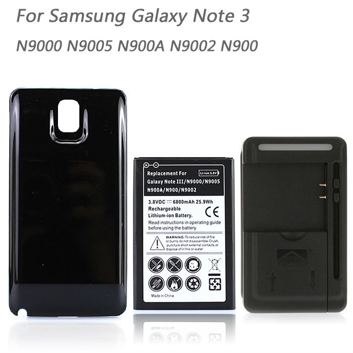 For Samsung Galaxy Note 3 N9000 N9005 N900A N9002 N900 High Capacity Phone Battery 6800mAh + Back Cover Case + USB Wall Charger