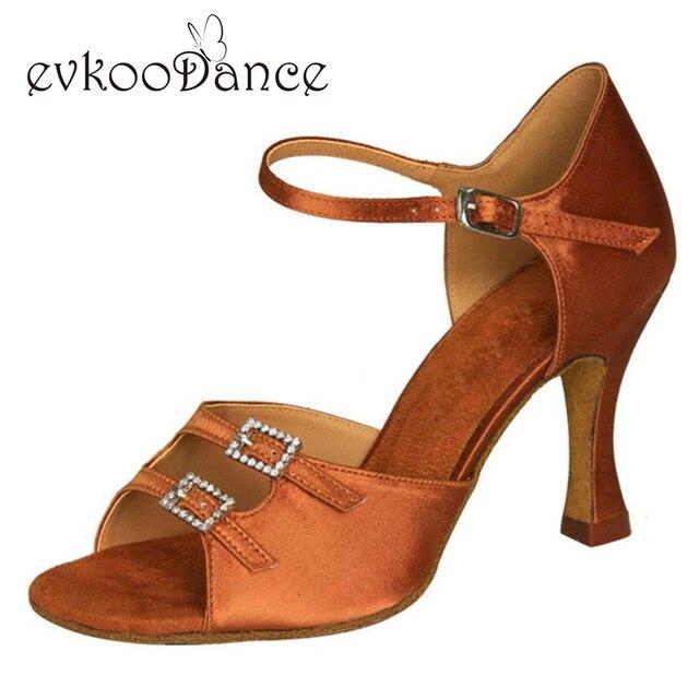 Chaussures de danse latine Foncé Tan Satin avec cristal boucle semelle En  Cuir Meduim 5/