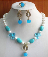 Miss Charm Jew 494 Charming Women S 8mm Mixed Color Pearl Necklace Earring Ring Jewelry Set
